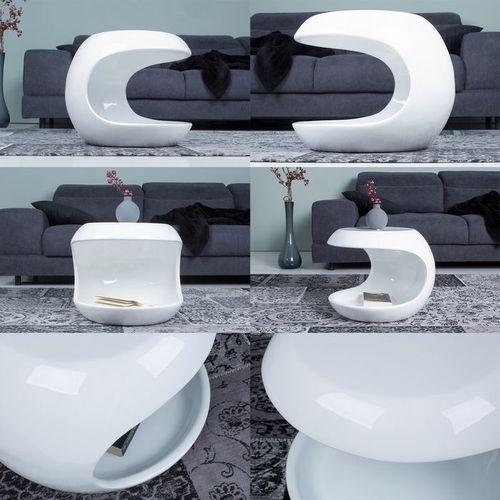 Beistelltisch PUCK Weiß Hochglanz mit Ablagefach 45cm Ø - 4