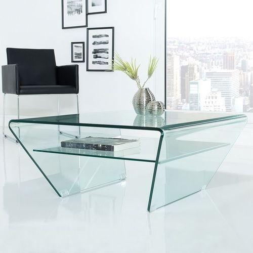Glas-Couchtisch MAYFAIR Trapezform transparent aus einem Guss 70cm - 1