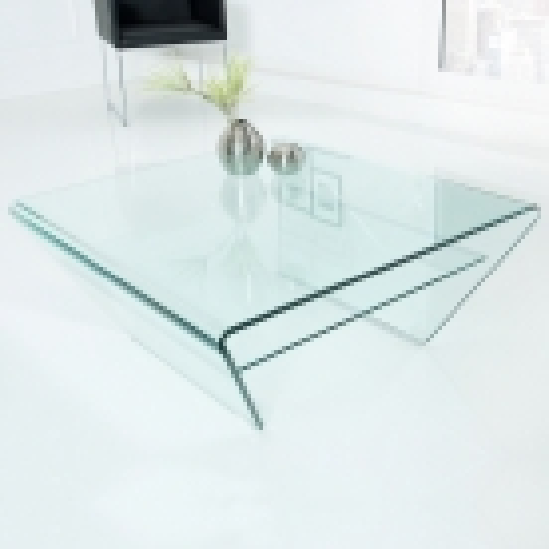 Glas-Couchtisch MAYFAIR Trapezform transparent aus einem Guss 70cm - 2