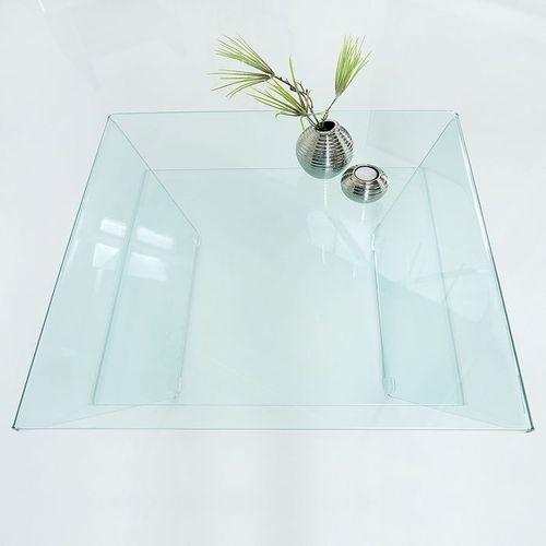 Glas-Couchtisch MAYFAIR Trapezform transparent aus einem Guss 70cm - 3