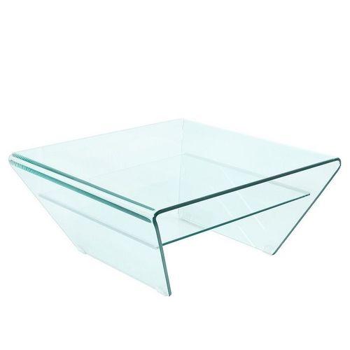Glas-Couchtisch MAYFAIR Trapezform transparent aus einem Guss 70cm - 4