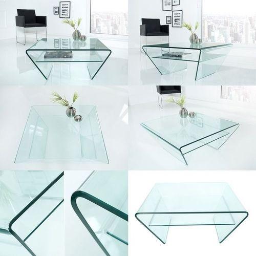 Glas-Couchtisch MAYFAIR Trapezform transparent aus einem Guss 70cm - 5