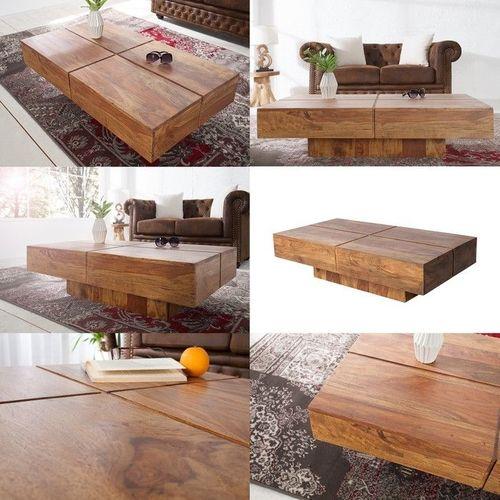 Couchtisch SALEM Sheesham massiv Holz gewachst 110cm x 60cm - 3