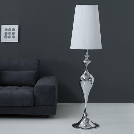 Stehlampe SCARLET Weiß mit Standfuß aus Silber glänzendem Metall 160cm Höhe - 1