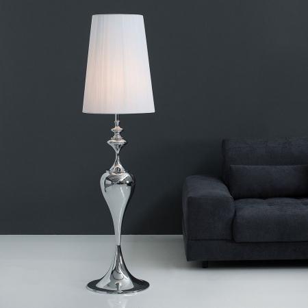 Stehlampe SCARLET Weiß mit Standfuß aus Silber glänzendem Metall 160cm Höhe - 2