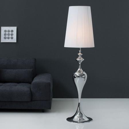 Stehlampe SCARLET Weiß mit Standfuß aus Silber glänzendem Metall 160cm Höhe - 3