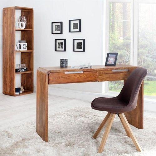 Schreibtisch DAIPUR mit 2 Schubladen Sheesham massiv Holz gewachst 120cm x 40cm - 1