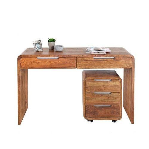 Schreibtisch DAIPUR mit 2 Schubladen Sheesham massiv Holz gewachst 120cm x 40cm - 2