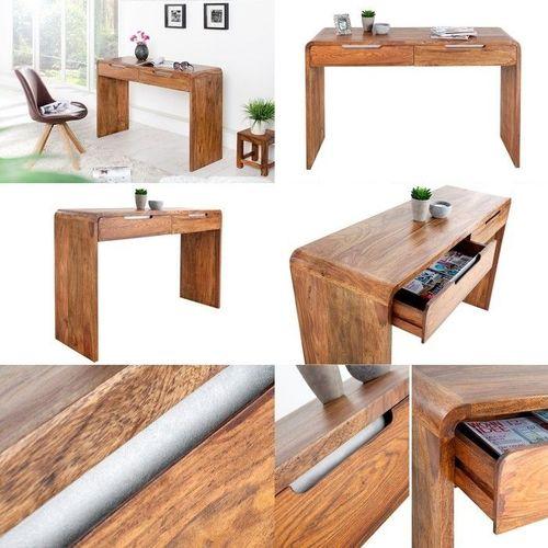 Schreibtisch DAIPUR mit 2 Schubladen Sheesham massiv Holz gewachst 120cm x 40cm - 3