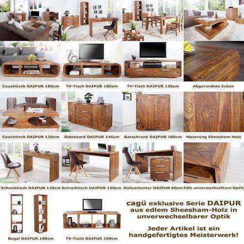 Schreibtisch DAIPUR mit 2 Schubladen Sheesham massiv Holz gewachst 120cm x 40cm - 4