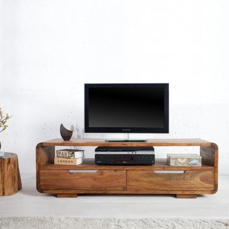 TV-Tisch DAIPUR Sheesham massiv Holz gewachst 130cm - 1