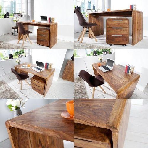 Schreibtisch DAIPUR Sheesham massiv Holz gewachst 150cm x 70cm - 3