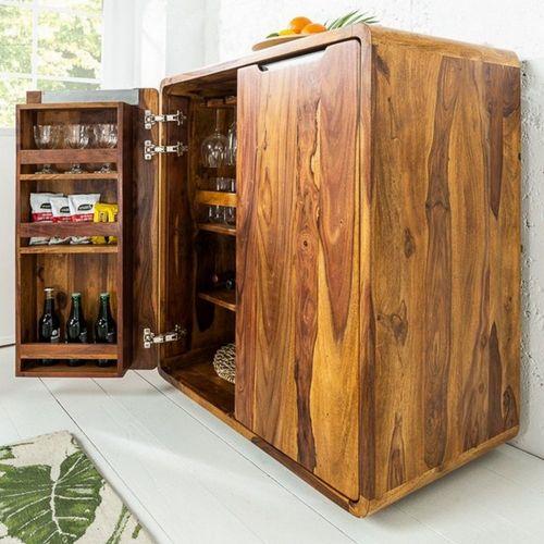 Barschrank DAIPUR Sheesham massiv Holz gewachst 100cm x 90cm - 1