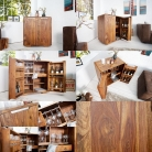 Barschrank DAIPUR Sheesham massiv Holz gewachst 100cm x 90cm - 6