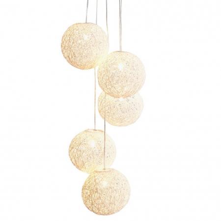 5er Hängelampe KOKON Weiß aus Manilahanf handgefertigt 20cm Ø und 140cm Höhe - 3
