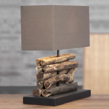 Tischlampe AMBON Braun aus Treibholz handgefertigt 40cm Höhe - 1