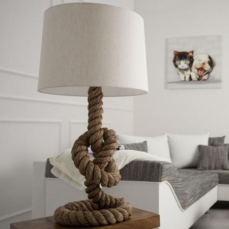 XL Tischlampe SCHIFFSTAU Beige aus Manilahanf handgefertigt 85cm Höhe mit Knoten & Schlaufen - 1