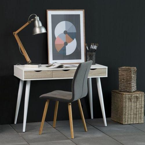 Schreibtisch VIBORG Weiß mit 3 Schubladen in Eiche 110cm x 50cm - 1
