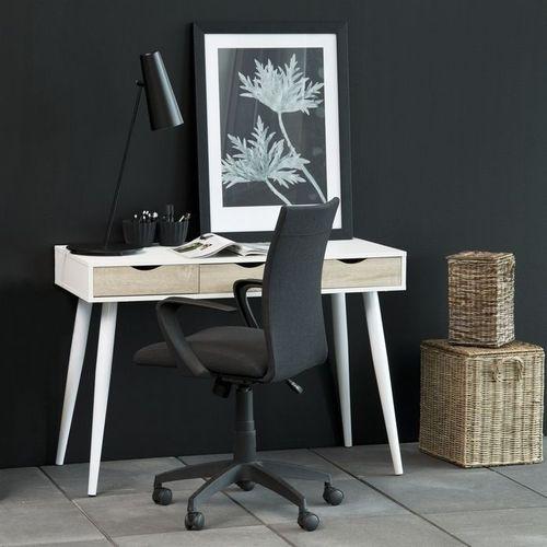 Schreibtisch VIBORG Weiß mit 3 Schubladen in Eiche 110cm x 50cm - 2