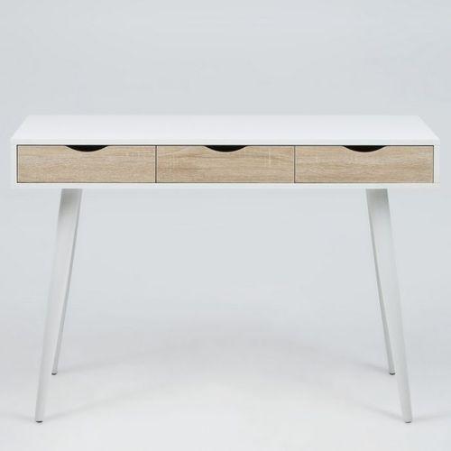 Schreibtisch VIBORG Weiß mit 3 Schubladen in Eiche 110cm x 50cm - 3