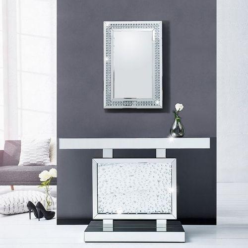 Glamouröser Wandspiegel LUXOR mit Spiegelrahmen und funkelnden Kristallen 90cm x 60cm | Vertikal oder horizontal aufhängbar! - 1