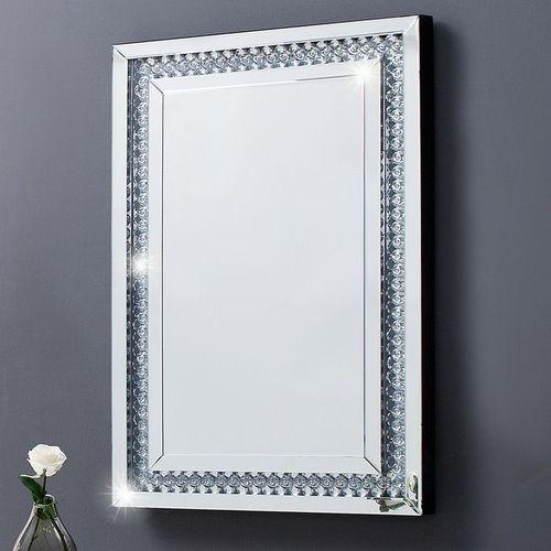 Glamouröser Wandspiegel LUXOR mit Spiegelrahmen und funkelnden Kristallen 90cm x 60cm | Vertikal oder horizontal aufhängbar! - 2