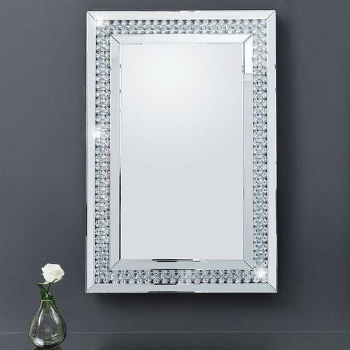 Glamouröser Wandspiegel LUXOR mit Spiegelrahmen und funkelnden Kristallen 90cm x 60cm | Vertikal oder horizontal aufhängbar! - 3
