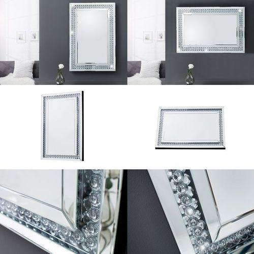 Glamouröser Wandspiegel LUXOR mit Spiegelrahmen und funkelnden Kristallen 90cm x 60cm | Vertikal oder horizontal aufhängbar! - 4