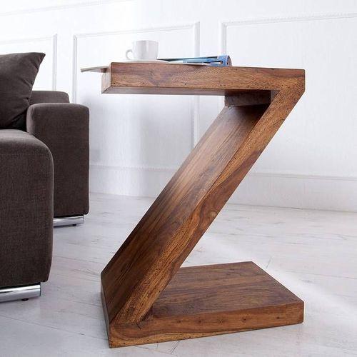 Beistelltisch AGRA Z-Form Sheesham massiv Holz gewachst 60cm x 45cm - 1