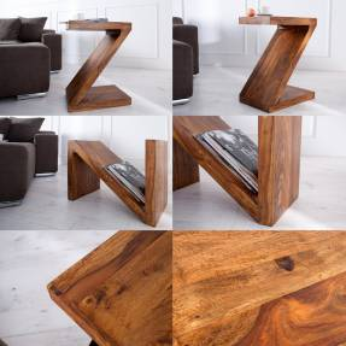 Beistelltisch AGRA Z-Form Sheesham massiv Holz gewachst 60cm x 45cm - 3