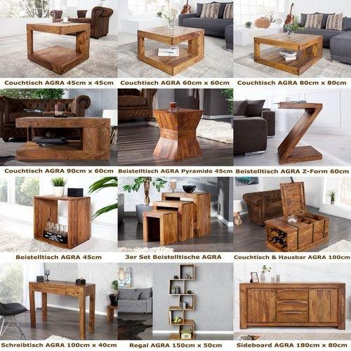 Beistelltisch AGRA Z-Form Sheesham massiv Holz gewachst 60cm x 45cm - 4