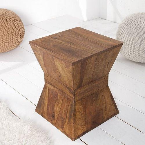 Beistelltisch AGRA Pyramiden-Form Sheesham massiv Holz gewachst 45cm x 35cm - 1