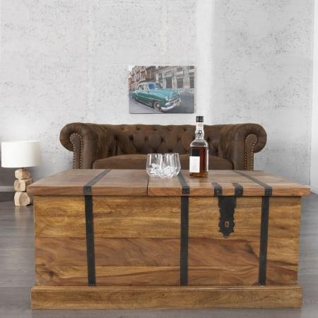 Couchtisch & Hausbar AGRA Sheesham massiv Holz gewachst 100cm x 60cm - 1