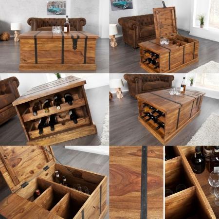 Couchtisch & Hausbar AGRA Sheesham massiv Holz gewachst 100cm x 60cm - 4