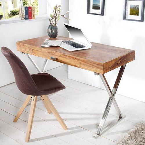 Schreibtisch LONDON Sheesham massiv Holz gewachst mit Schublade & Gestell Chrom 120cm x 55cm - 1