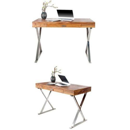 Schreibtisch LONDON Sheesham massiv Holz gewachst mit Schublade & Gestell Chrom 120cm x 55cm - 2