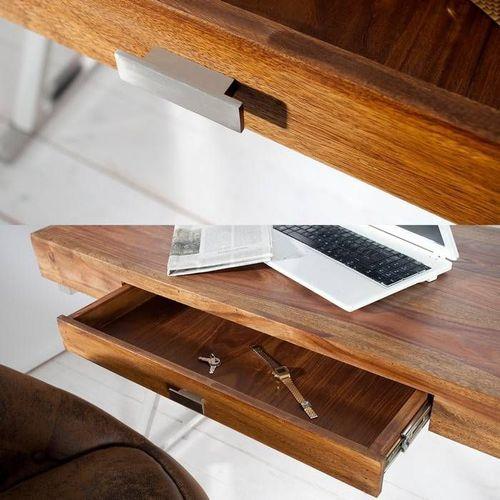 Schreibtisch LONDON Sheesham massiv Holz gewachst mit Schublade & Gestell Chrom 120cm x 55cm - 3