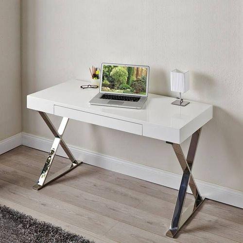 Schreibtisch LONDON mit Schublade Weiß Hochglanz & Chrom 100cm - 1