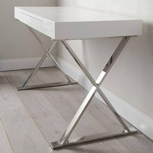Schreibtisch LONDON mit Schublade Weiß Hochglanz & Chrom 100cm - 2