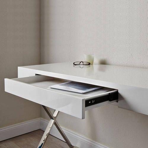 Schreibtisch LONDON mit Schublade Weiß Hochglanz & Chrom 100cm - 3