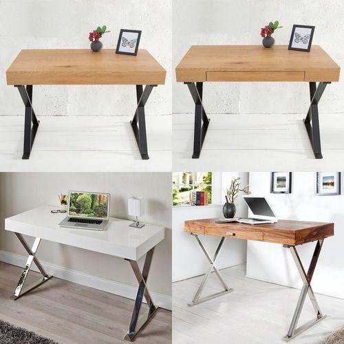 Schreibtisch LONDON mit Schublade Weiß Hochglanz & Chrom 100cm - 4