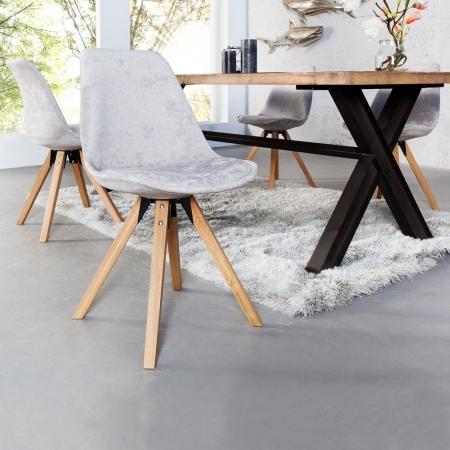 Retro Stuhl GÖTEBORG Hellgrau Hochflor im skandinavischen Stil - 1