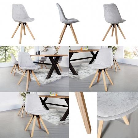 Retro Stuhl GÖTEBORG Hellgrau Hochflor im skandinavischen Stil - 3