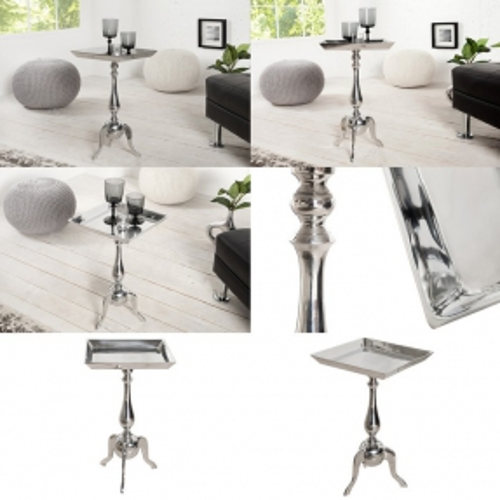 Barock Beistelltisch LAVAL Eckig Silber aus Aluminium 55cm Höhe - 3