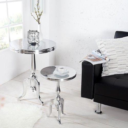 Barock Beistelltisch LAVAL Rund Silber aus Aluminium 55cm Höhe - 2