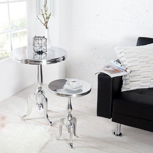 Barock Beistelltisch LAVAL Rund Silber aus Aluminium 75cm Höhe - 2