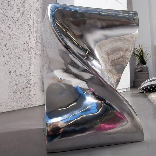 Beistelltisch & Hocker MONOLITH Silber aus poliertem Aluminium 45cm Höhe - 1