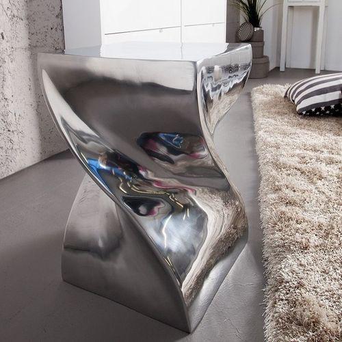 Beistelltisch & Hocker MONOLITH Silber aus poliertem Aluminium 45cm Höhe - 2