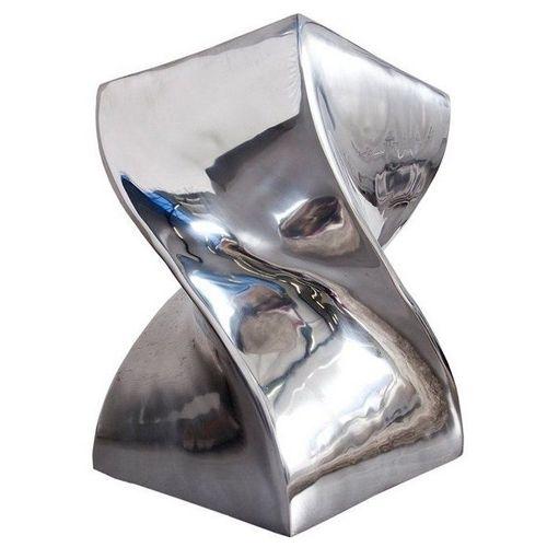 Beistelltisch & Hocker MONOLITH Silber aus poliertem Aluminium 45cm Höhe - 3