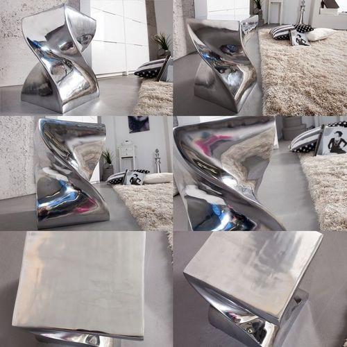 Beistelltisch & Hocker MONOLITH Silber aus poliertem Aluminium 45cm Höhe - 4